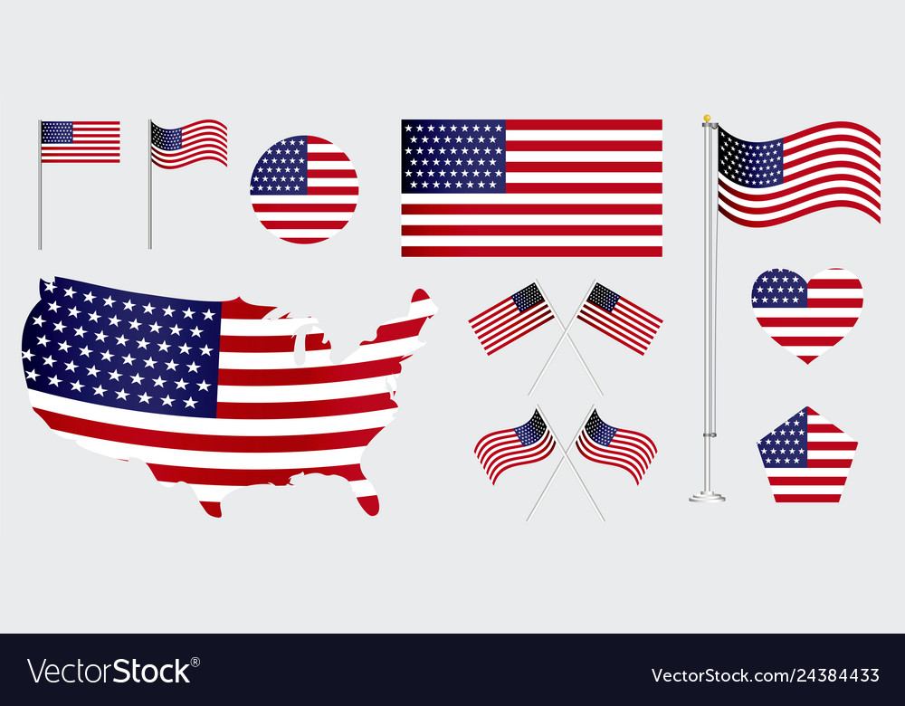 Set of american flag clip art.