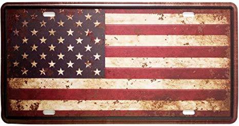 ERLOOD American Flag Logo Retro Metal Vintage Auto License Plate Tin Sign  Embossed Tag Size Home Pub Bar Decor Wall Plaque 6 X 12.