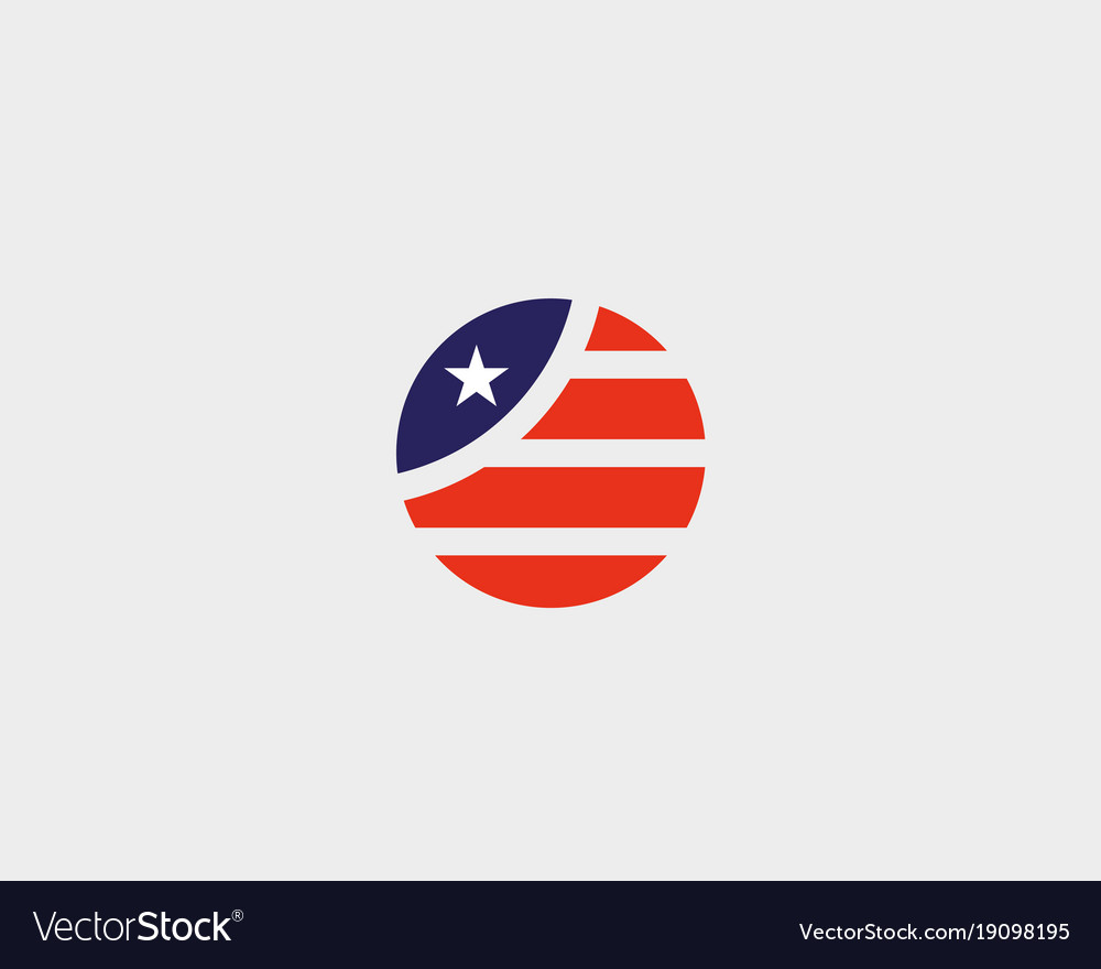 Round american flag star stripes logo design us.