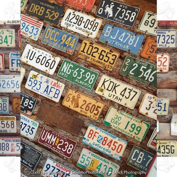 Vintage License Plates.
