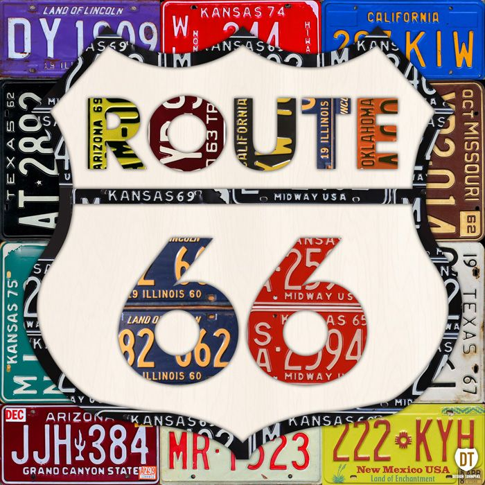Route 66 Road Sign License Plate Art.