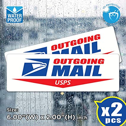 AllWeather (Pack of 2) Outgoing Mail Sign Post Office Logo Decal Sticker US  Postal Vinyl Label.