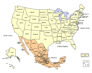 USA and Mexico PowerPoint Map, Editable States.