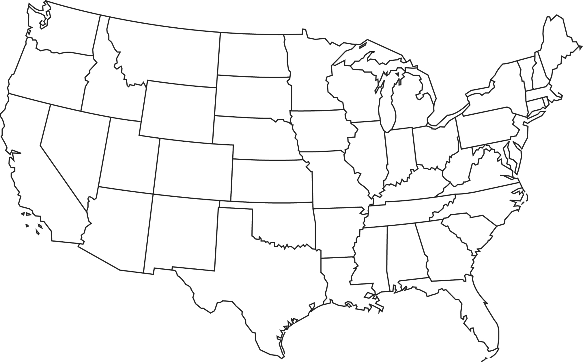 Us Map Clipart Black And White Clipground - Black and white us map