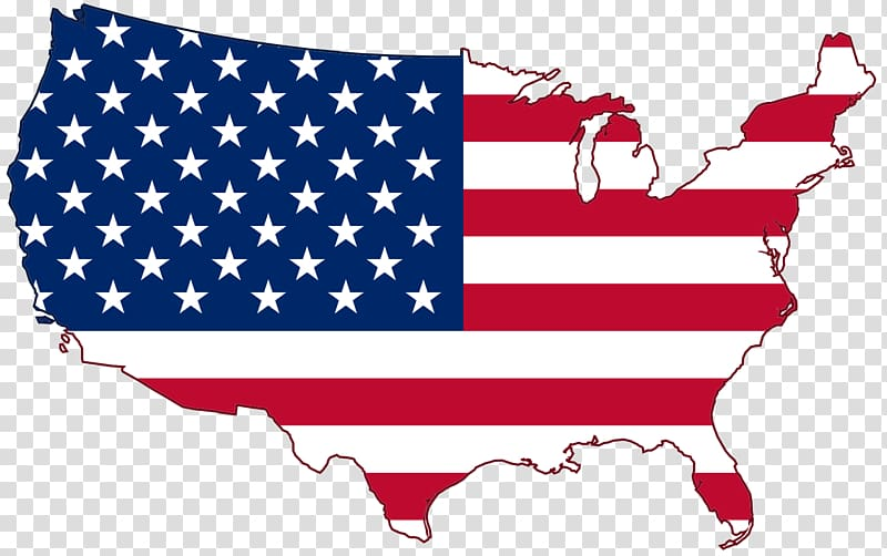 USA map transparent background PNG clipart.
