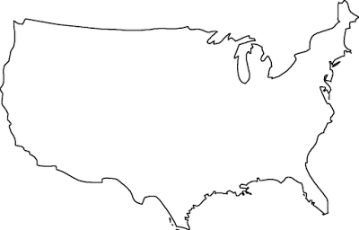 Blank map of the continental United States.