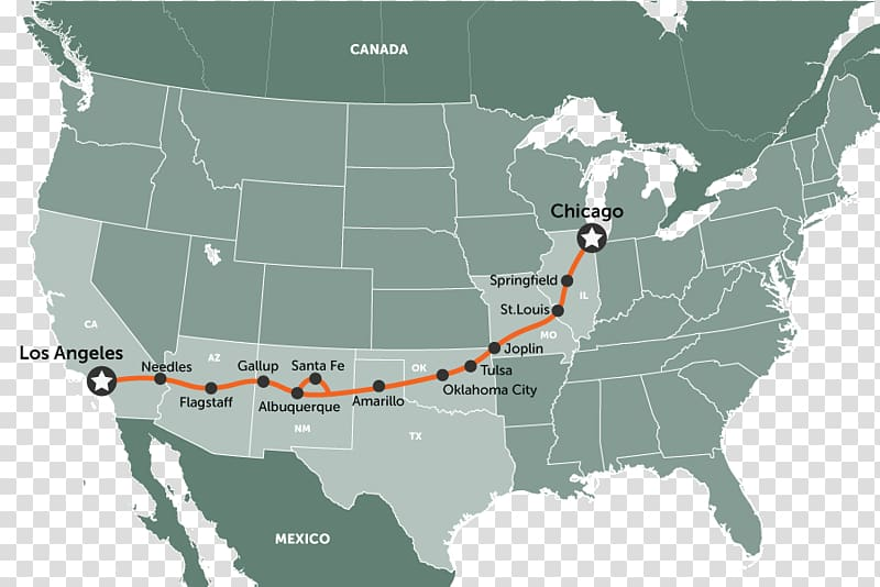 Road trip U.S. Route 66 Road map, map transparent background.