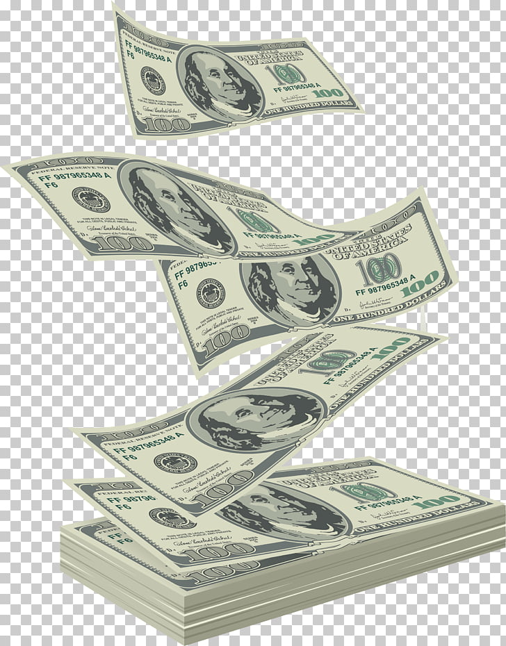 Money Falling, 100 US dollar banknote illustration PNG.