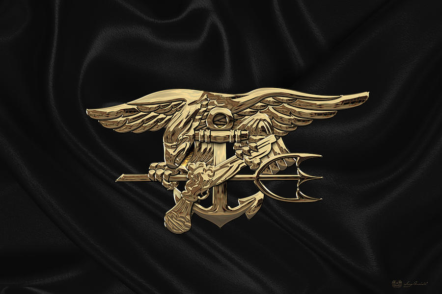 U.s. Navy Seals Trident Over Black Flag.