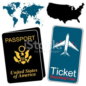 US Passport and Airline Ticket premium clipart.
