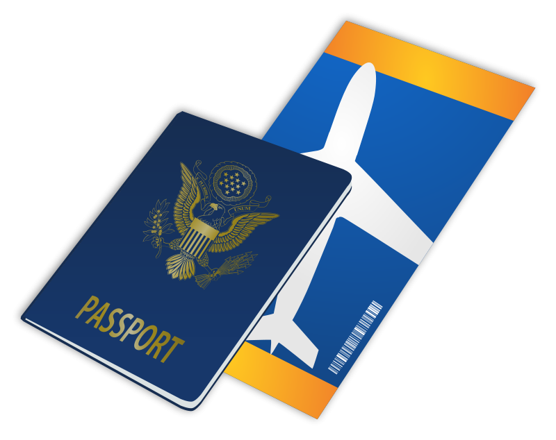 Free Clipart: Passport and Ticket.