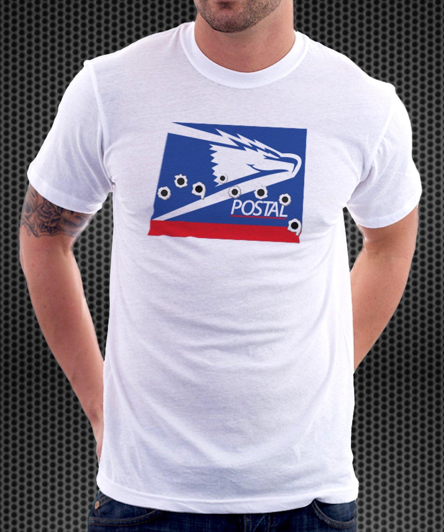 USPS US Postal Service Logo Parody Spoof Tshirt: Postal Logo White Colored  Tshirt.