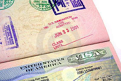 US Visa Royalty Free Stock.