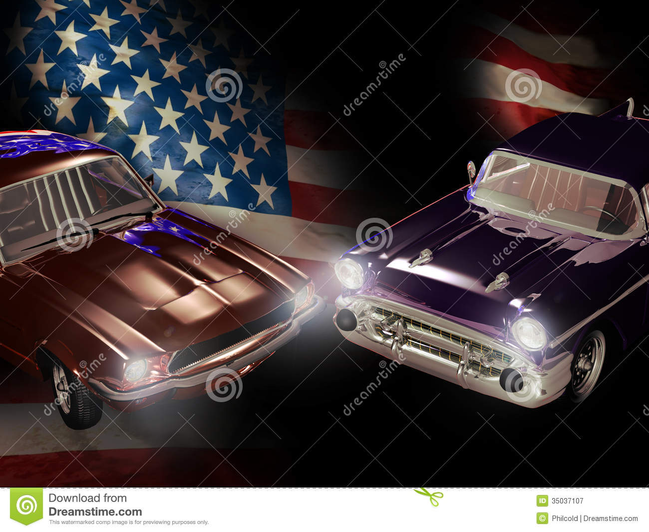 Usa Flag With Classic Cars Clipart.