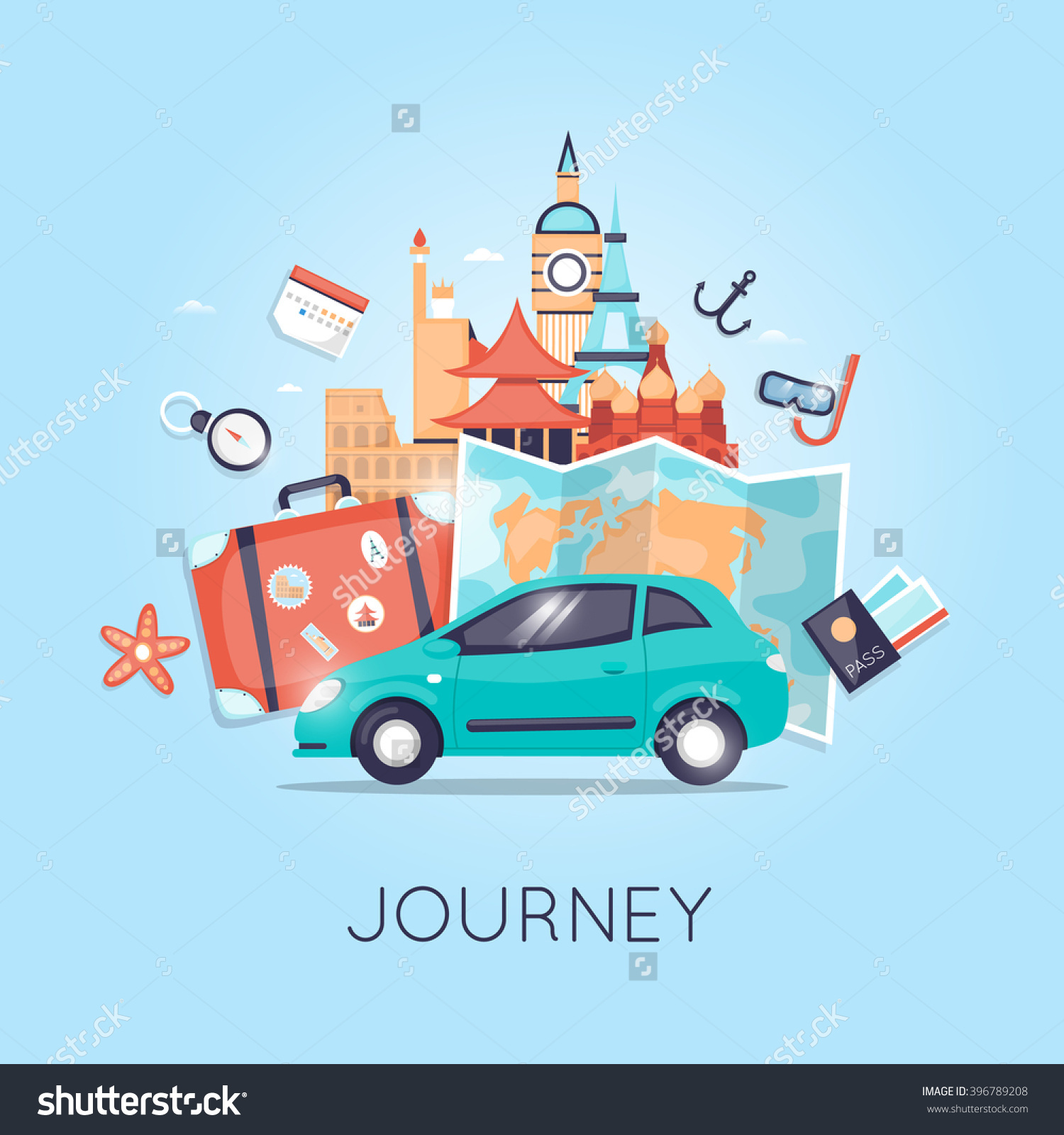 Travel By Car Russia Usa Japan Stock Vector 396789208.