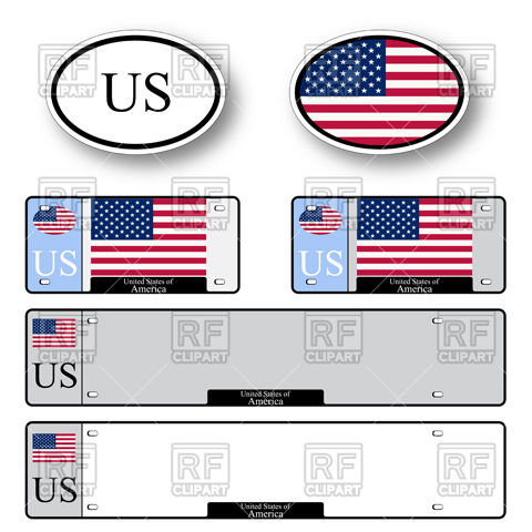Template of car plate number with flag of United States of America.