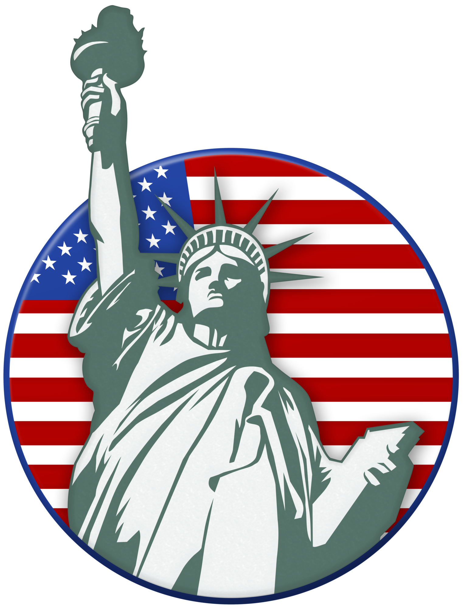 Statue Of Liberty USA Stamp PNG Clip Art Image.