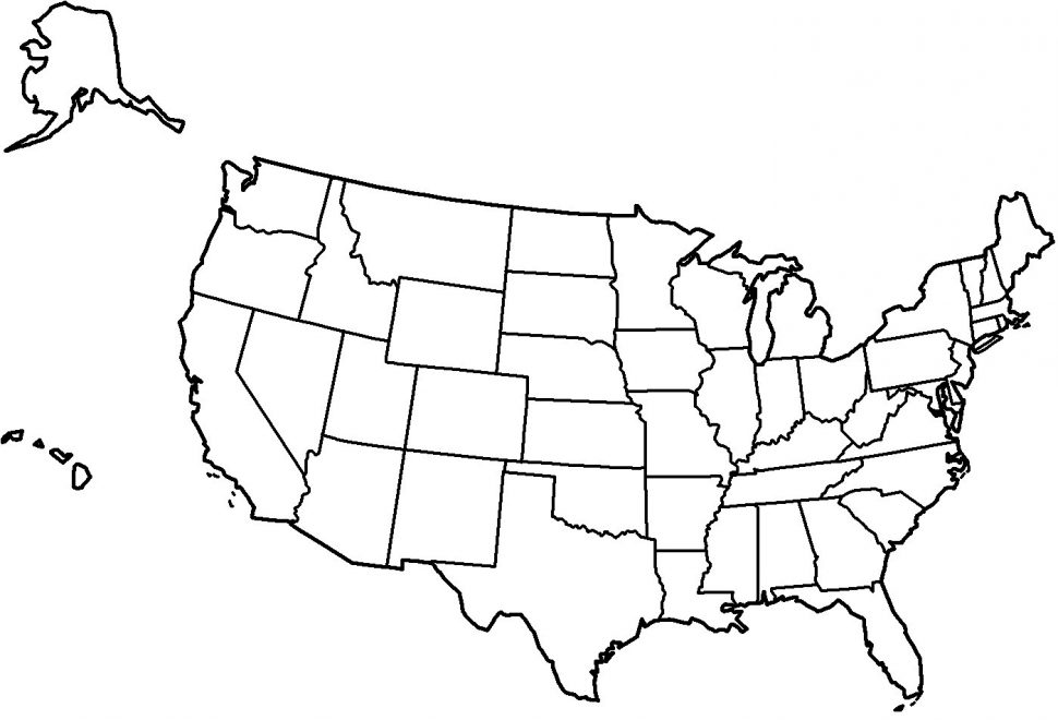 Printable : Clipart United States Map The Black And White.