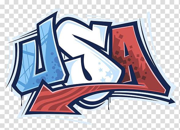USA text logo, United States Independence Day Illustration.