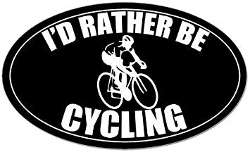 Amazon.com: LPF USA Magnet Oval I\'d Rather be Cycling Logo.