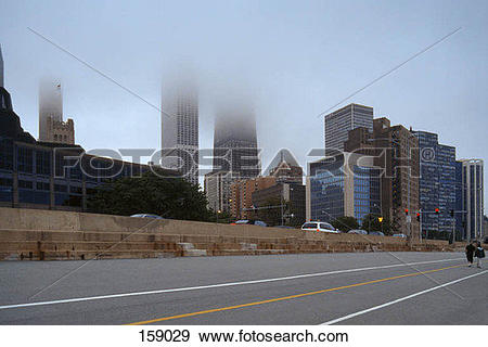 Stock Photograph of Downtown Chicago, USA, in fog 159029.