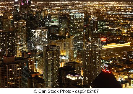 Picture of View to Downtown Chicago / USA from high above at night.