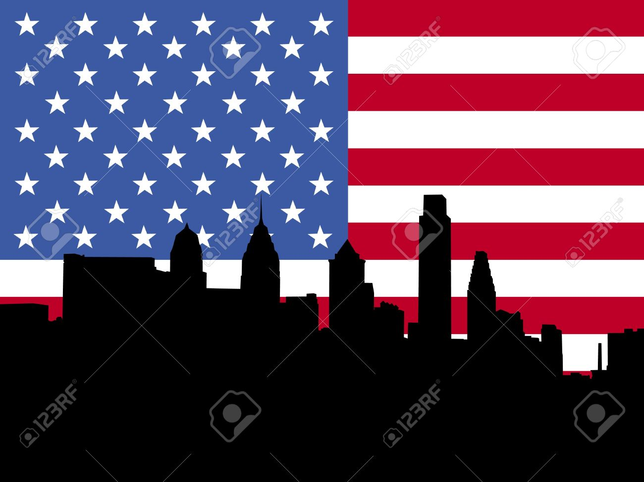 Usa flag and philly bell clipart.