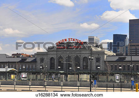 Stock Photo of union train station in lower downtown denver usa.