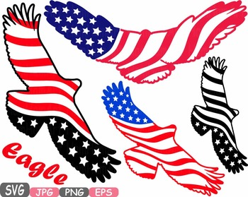 American flag Eagle Military independence day 4th of July Clipart birds USA  474s.