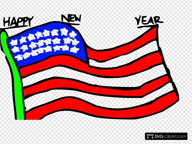 Happy New Year Us Flag Clip art, Icon and SVG.