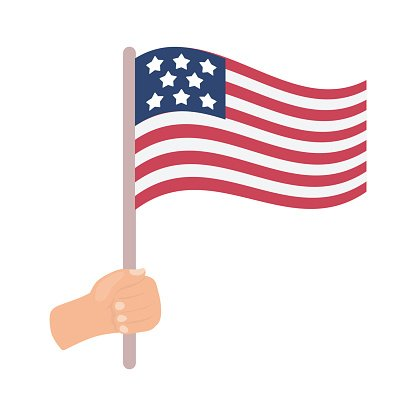 American flag icon in cartoon style isolated on white.