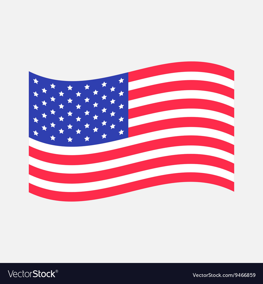 Waving American flag icon Isolated Whte.