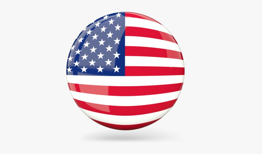Usa Flag Round Map.