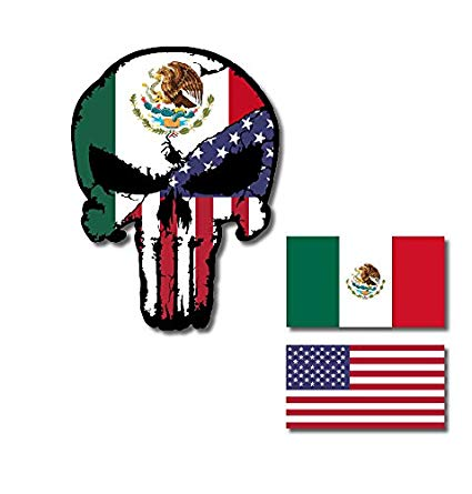 Amazon.com: Mexico USA Flag Punisher Skull with Flags Vinyl.