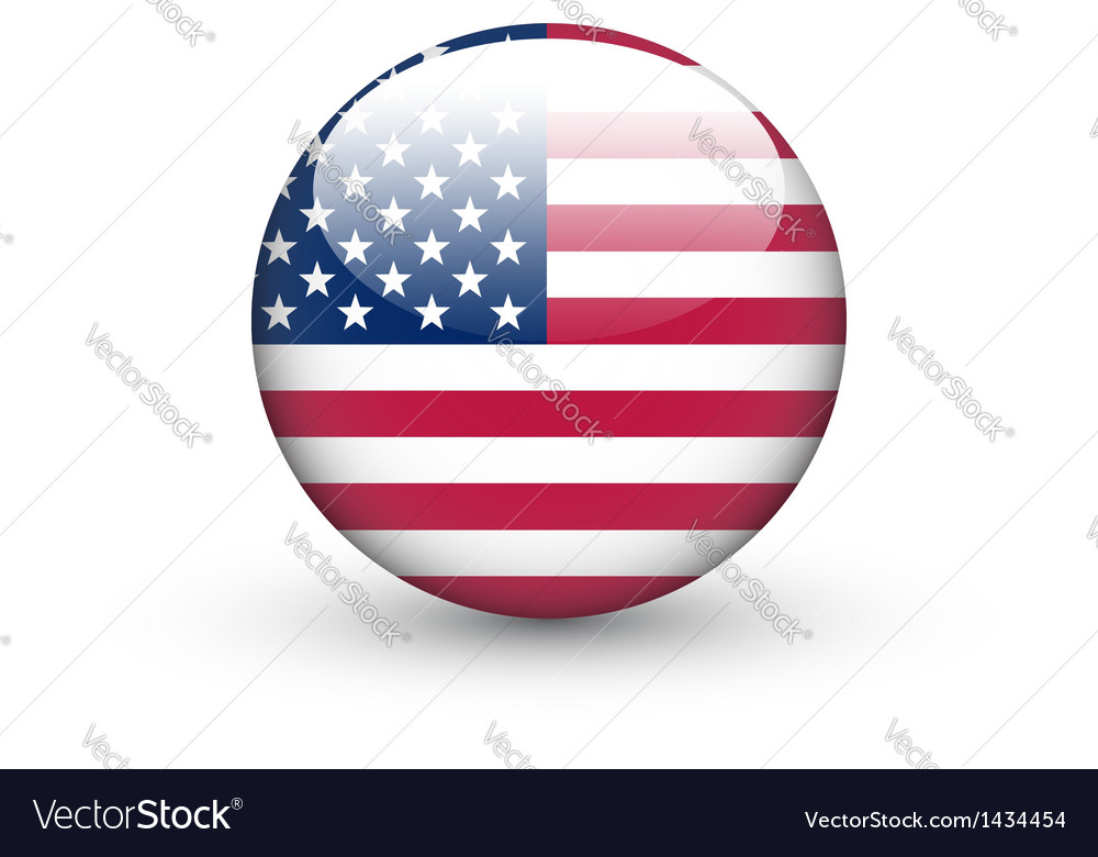 Round icon with national flag of the USA.