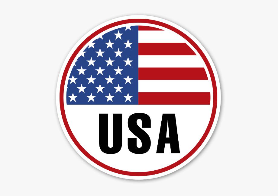 Usa Round Flag Sticker.