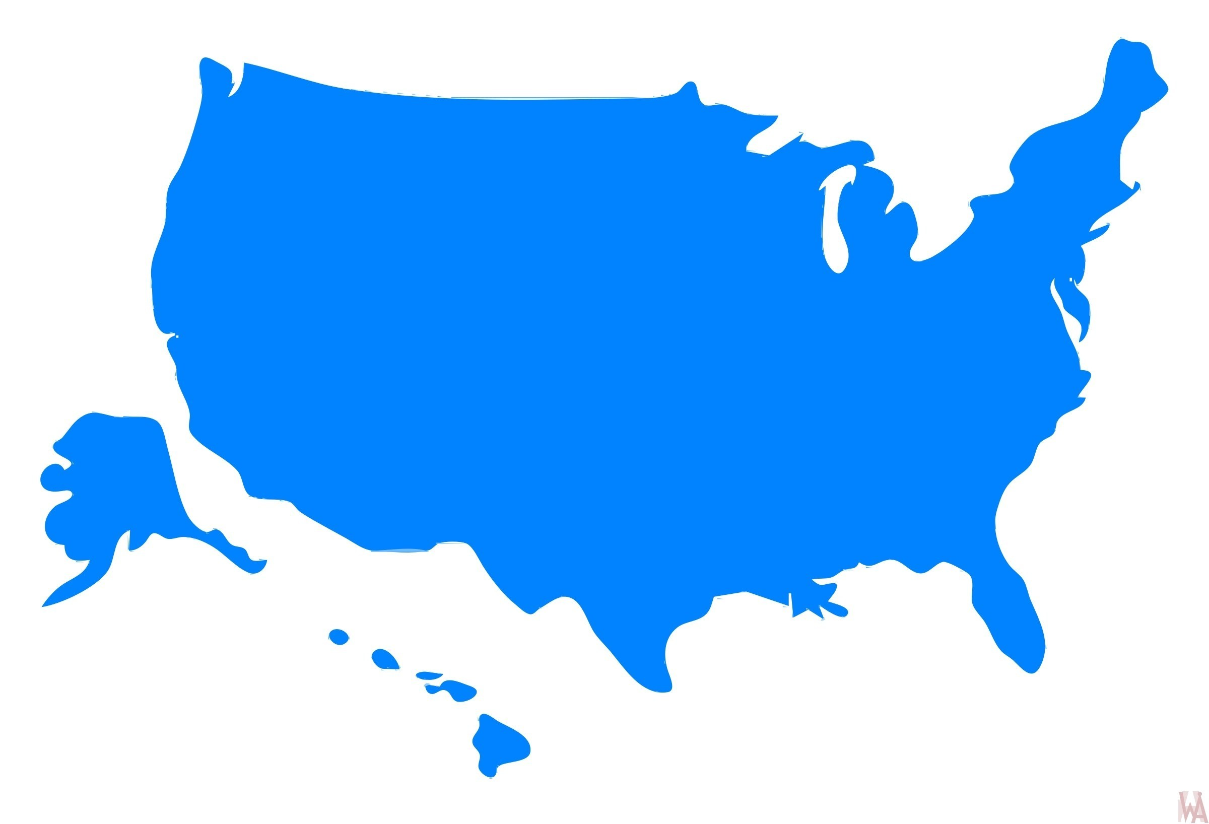 Clipart map of USA.