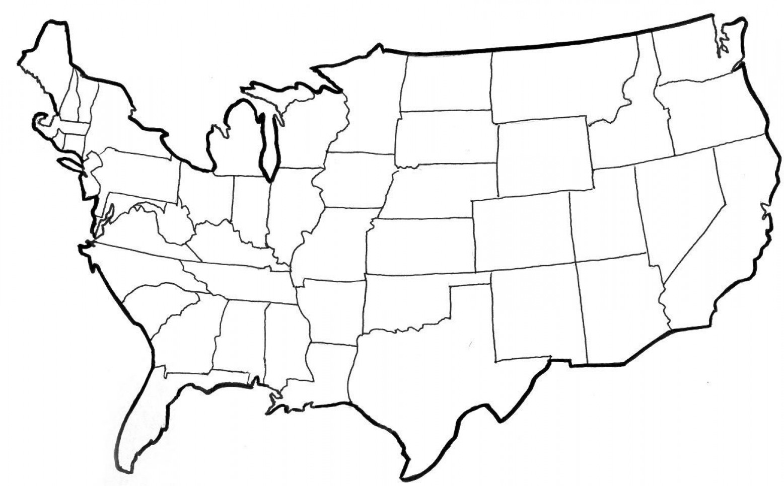 Maps Us States Usa Map Outline Png.