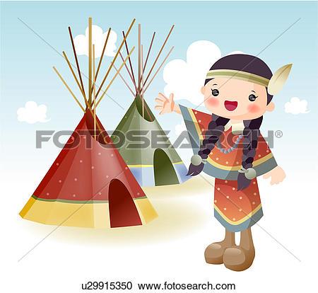 Stock Illustrations of USA, indian, north America, tourist.