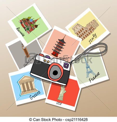 Vector Illustration of Camera with photographs of global landmarks.
