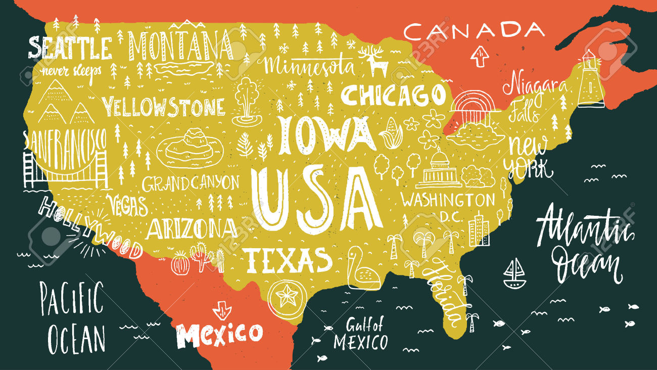 Handdrawn Illustration Of USA Map With Hand Lettering Names Of.