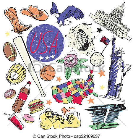 Drawing of Tourist attractions USA..