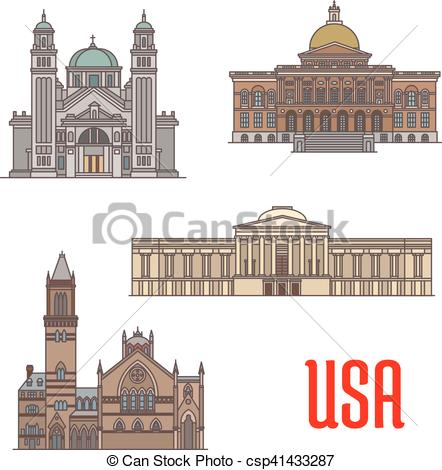 Vector of USA tourist attraction and architecture landmarks. St.