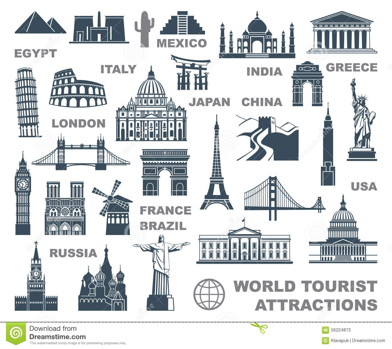 Icons World Tourist Attractions Stock Vector.