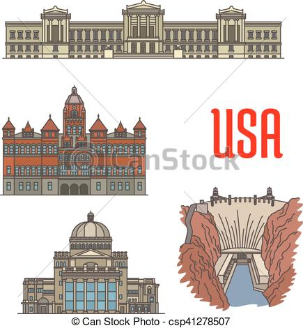 Vector Clipart of Famous popular tourist attractions of USA.