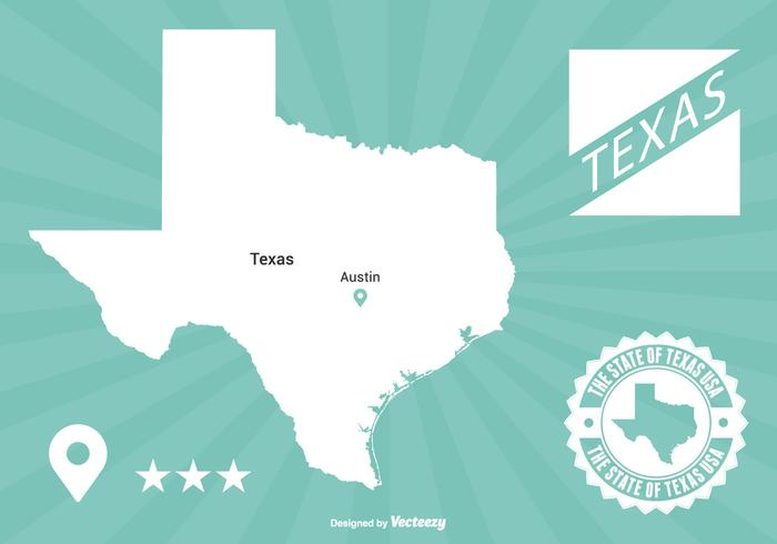 Texas Map Illustration.