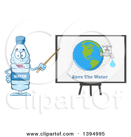 Clipart of a Cartoon Bottled Water Mascot Using a Pointer Stick.