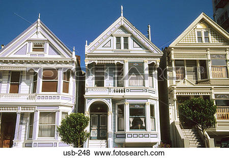 Pictures of Row of Old Town Houses Alamo Park San Francisco USA.