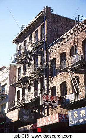 Stock Images of Old Apartment Blocks Chinatown San Francisco USA.