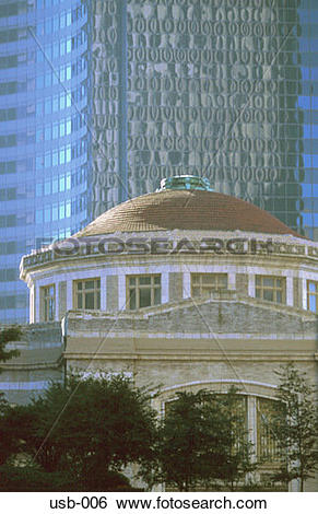 Stock Images of Rotunda of Civic Building against Glass Offices.